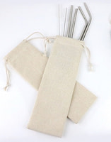 Canvas Pouch with Metal Straw Set
