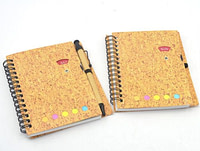A5 Imitate Cork Coil Notebook with Pen
