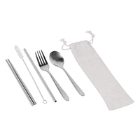Stainless Steel Cutlery Set with Straw in Canvas Pouch