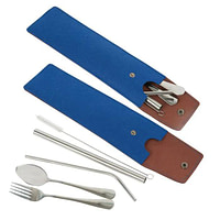 Felt Pouch Stainless Steel Cutlery Set with Straws