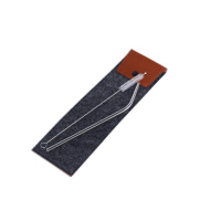SS Cutlery Set with Straws Felt Pouch 4