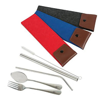 SS Cutlery Set with Straws Felt Pouch